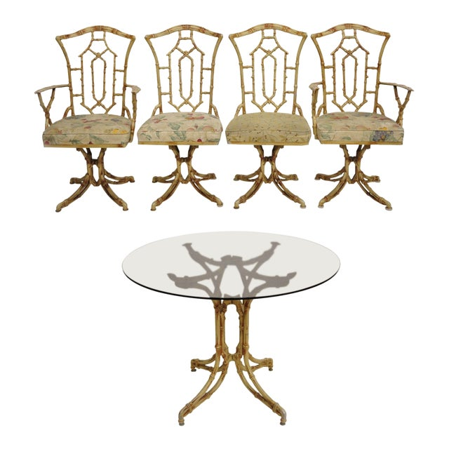 Chinese Chippendale Metal Faux Bamboo 5 Piece Dining Set For Sale
