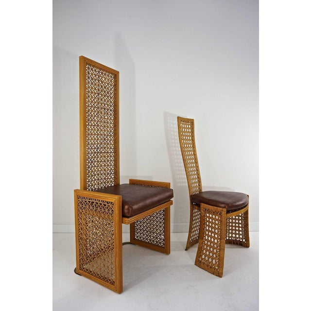 Casa Bella Italian Rattan Dining Chairs With French Caning by Vivai Del Sud - Set of 8 For Sale - Image 4 of 11