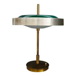 Oscar Torlasco Mid-Century Table Lamp in Brass and Cased Glass by Lumi 1950s For Sale