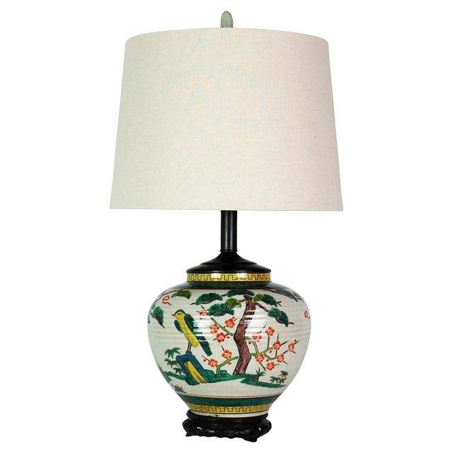 Japanese Polychrome Lamp & Jade Finial - Image 1 of 8