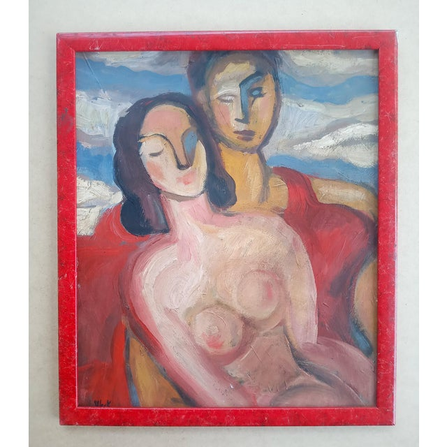 Mid 20th Century Abstract Portrait of Two Nudes Oil Painting, Framed For Sale - Image 9 of 9