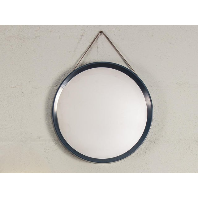 Acrylic Danish Modern Navy Blue Circular Wall Mirror For Sale - Image 7 of 7
