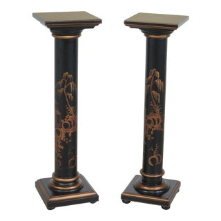 Chinoiserie Decorated Black Column Pedestals - A Pair