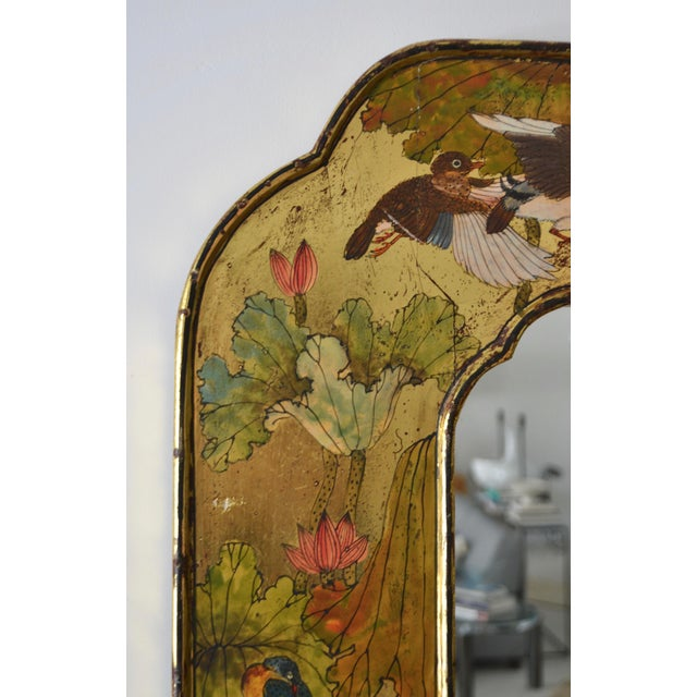 Hollywood Regency Hand-Painted Giltwood Wall Mirror For Sale - Image 9 of 12