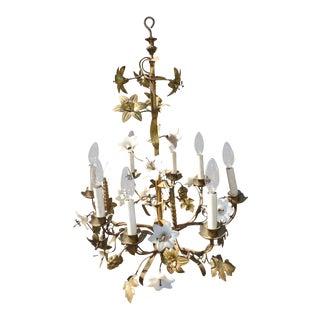 Vintage Italian Gold Gilt Floral Chandelier Hanging Light With Milk Glass Flowers