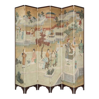 Impressively Scaled Chinoiserie Hand Painted Silk Six-Fold Screen