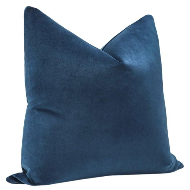 "Contemporary 22"" Cadet Blue Velvet Pillows - a Pair For Sale - Image 3 of 5"