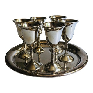Elegant e.p.n.s Silver Plated Shot Glasses & Tray S/7 For Sale