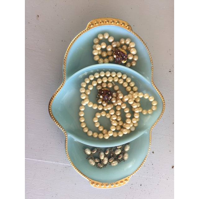 French Fire King Blue & Gold Dish For Sale - Image 3 of 9