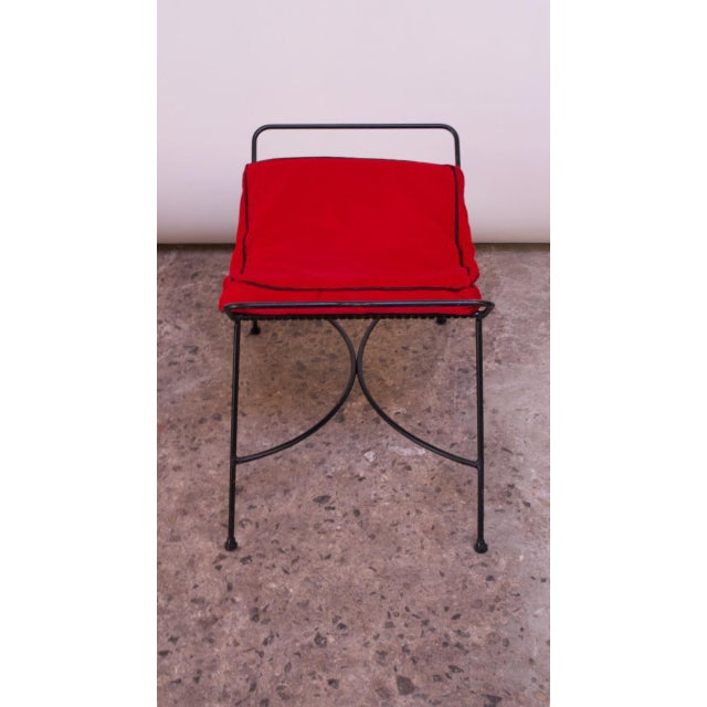 Mid-Century Modern Iron Footstool / Ottoman For Sale In New York - Image 6 of 12