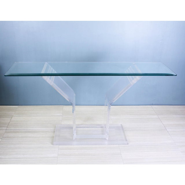 Lion in Frost 1970s Lucite Pedestal Console For Sale - Image 4 of 11