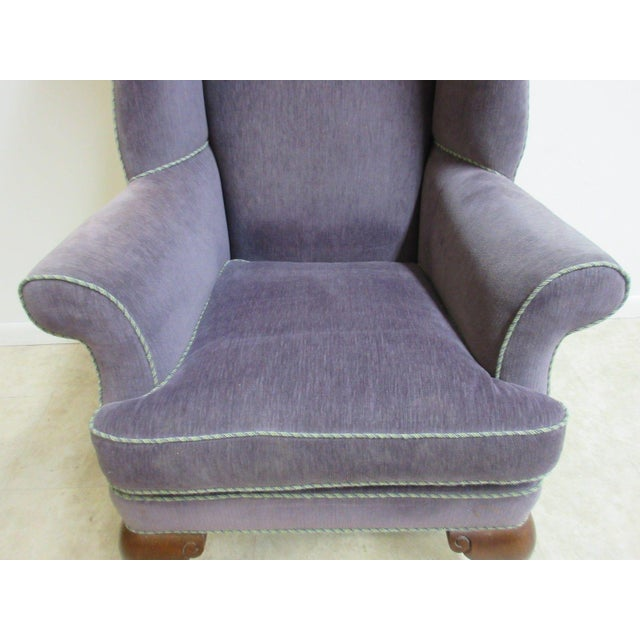 Vintage Purple Wingback Chair For Sale In Philadelphia - Image 6 of 11
