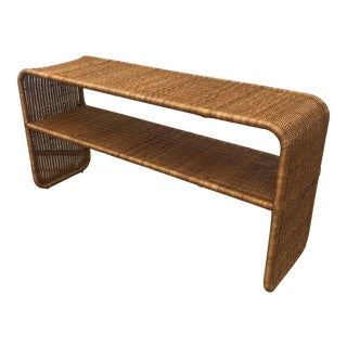 1970s Boho Chic Woven Wicker Console Table For Sale