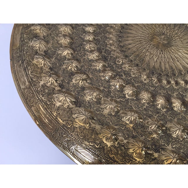 Early 20th Century Indo Persian Brass Metal Tray Table For Sale - Image 5 of 13