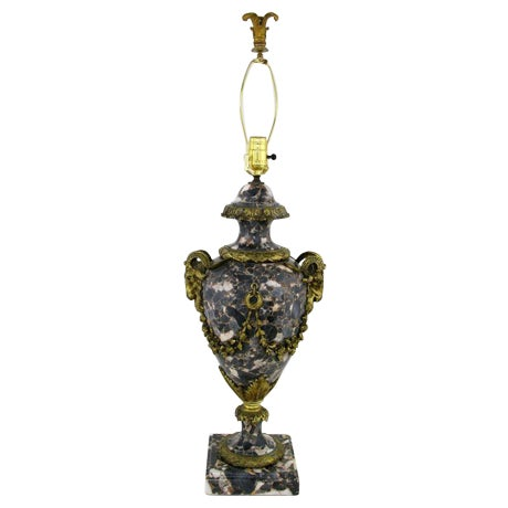 Marble Urn Form Lamp With Bronze Rams Heads And Ormolu - Image 1 of 10