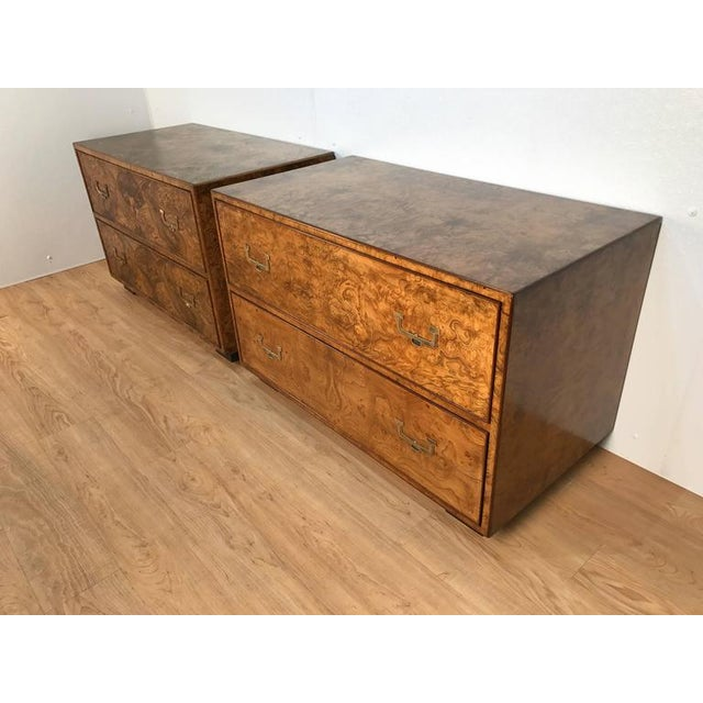 Mid-Century Modern Widdicomb Burl Wood Campaign Style Chests - a Pair For Sale - Image 3 of 7