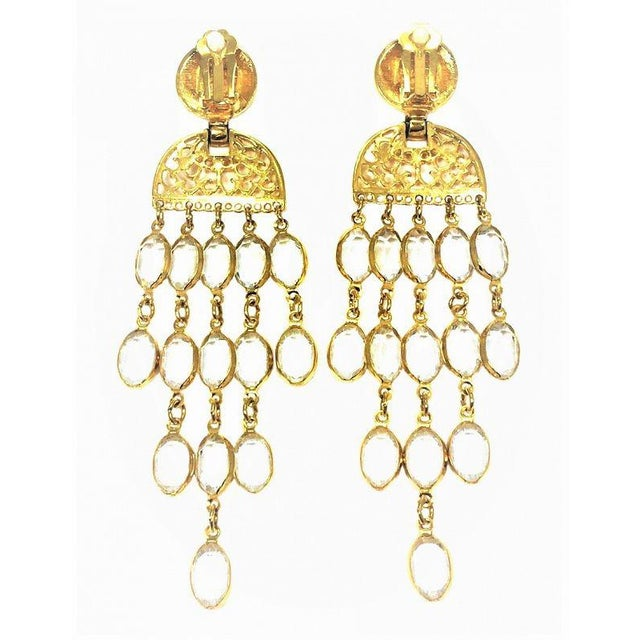 Modern Balmain Gold & Crystal Shoulder Duster Earrings For Sale - Image 3 of 5