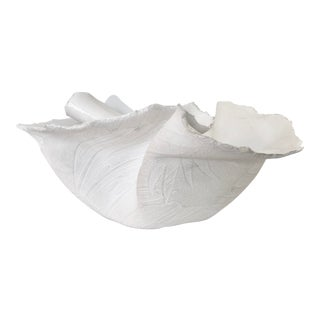 Ceramic Ruffle Bowl With Leaf Pattern For Sale