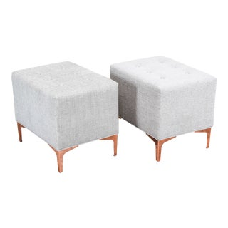 Cream Chenille Ottomans on Brass Feet - a Pair For Sale