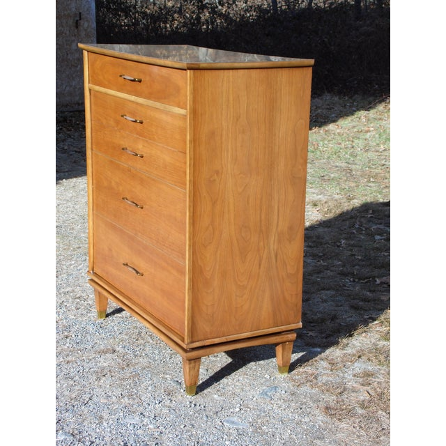 Vintage Mid Century Modern Kent Coffey Walnut Highboy Dresser Chest the Nomad For Sale - Image 10 of 13