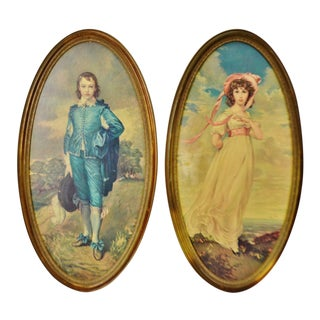 Vintage Framed Large Scale Pinkie & Blue Boy Prints on Board - a Pair