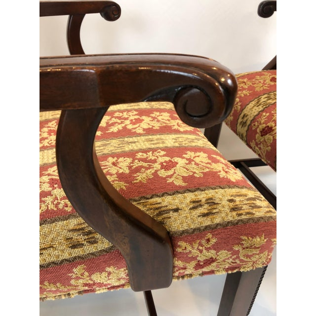 Carved Mahogany and Chenille Upholstered Armchairs - a Pair For Sale - Image 11 of 13
