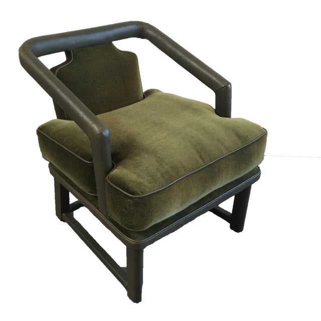 Green Leather & Mohair Lounge Chair - Image 1 of 10