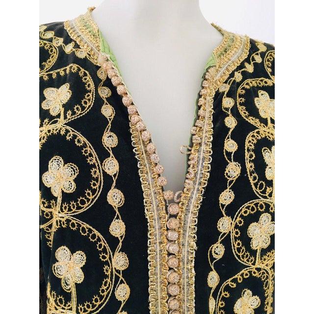 Vintage Caftan, Black Velvet and Gold Embroidered, 1960s For Sale - Image 10 of 13