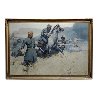 Douglas Duer - US Civil War Confederate Soldiers Under Fire-Monumental Oil Painting 1926 For Sale