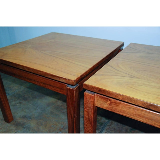 1970s Brazilian Jacaranda Wood Square Side Tables - a Pair For Sale - Image 4 of 8
