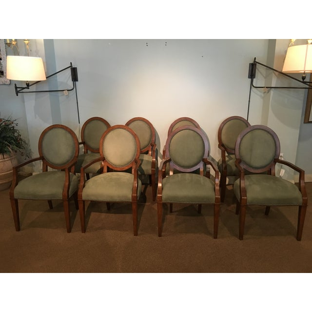 Italian Tapestry & Leather Wood Arm Chairs - Set of 8 For Sale - Image 10 of 10