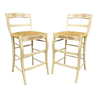 French County Style Rush Seat Ladder Back Barstools - a Pair For Sale