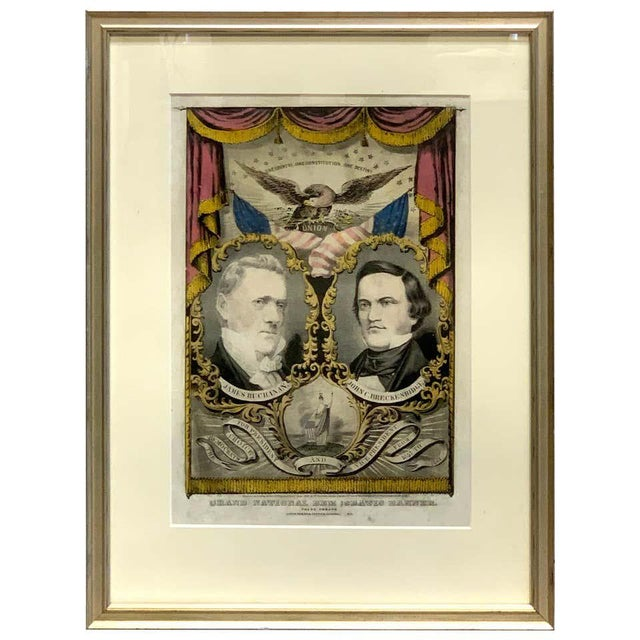 1856 N. Currier Buchanan & Breckenridge Grand National Democratic Banner For Sale - Image 11 of 11