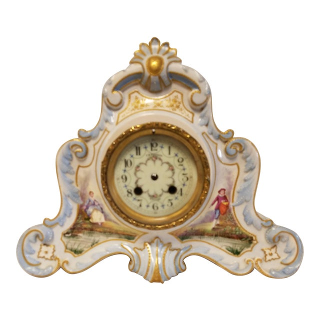 Antique Peabody Porcelain Hand Painted Clock For Sale