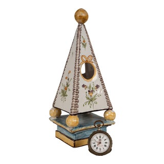 Nineteenth Century French Faience Obelisk & Watch For Sale