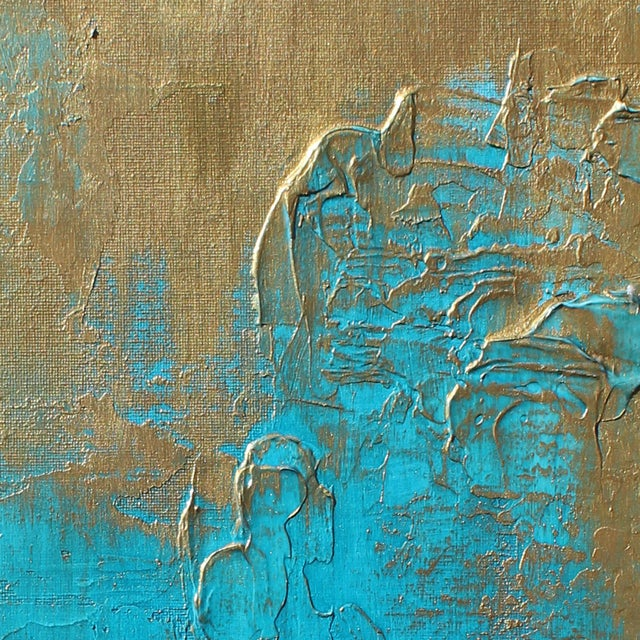 """Abstract Original """"Bronzed Earth II"""" Abstract Modern Turquoise Blue Bronze Metallic Textured Painting on Canvas For Sale - Image 3 of 4"""