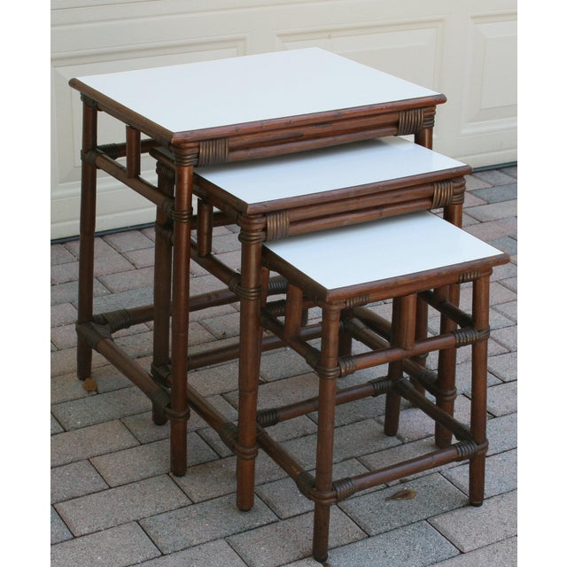 Mid-Century Modern Mid Century Modern Rattan Wicker Nesting Tables With White Laminate Top - Set of 3 For Sale - Image 3 of 8