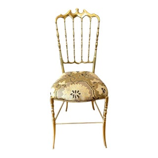 Italian Brass Chiavari Chair From 1950's For Sale
