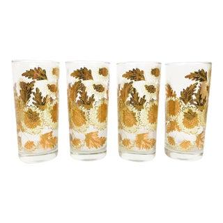 Mid-Century 22k Gold Floral Bar Glasses