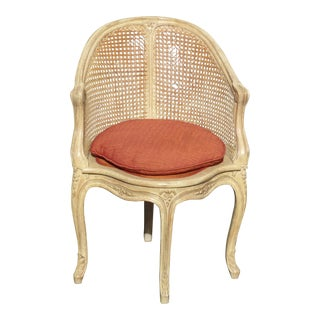 Vintage Chic Shabby French Provincial Cane Corner Accent Chair For Sale