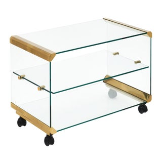 Modernist Glass and Brass Side Table For Sale