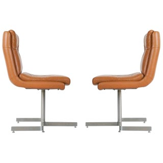 Pair of Leather Lounge Chairs by Raphael, France, Circa 1970