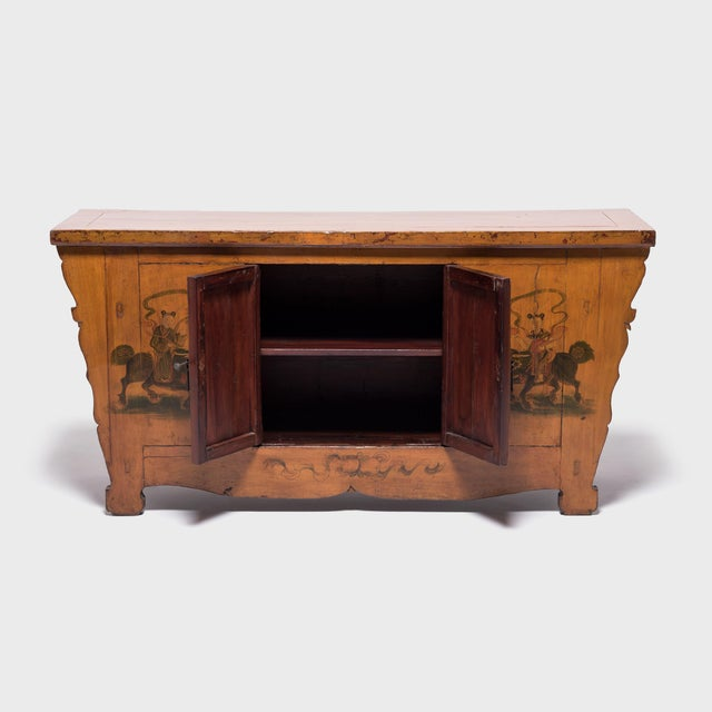 The paintings on this 19th century coffer from Mongolia is original and in impeccable condition. The hand-painted scene is...