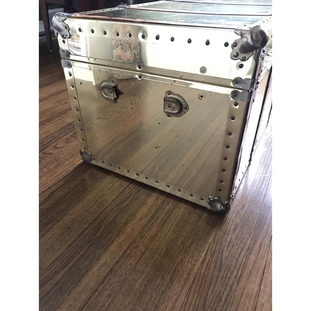 Animal Skin Vintage Brass Trunk With Leather Strapping For Sale - Image 7 of 10
