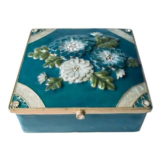 Mid Century Blue Enamel, Rhinestone Flower Trinket, Jewelry Box