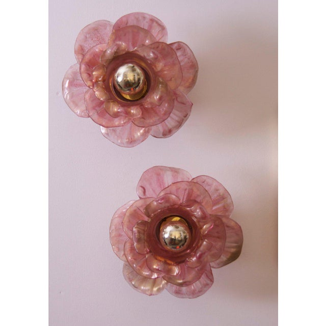 Pair of Labeled Barovier and Toso Flower Glass Wall Lamps / Sconces For Sale - Image 9 of 9
