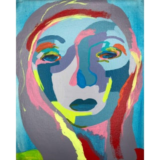 "Contemporary Abstract Portrait Painting ""It's Confusing 'Til It Makes Sense"" - Framed For Sale"