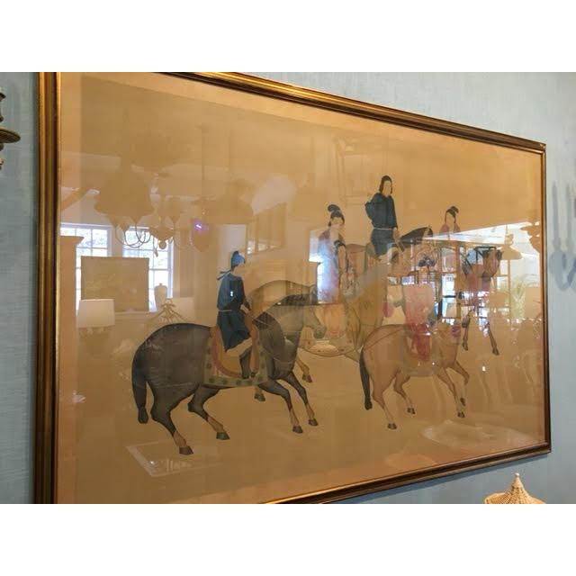 Early 20th Century Large Chinese Painting on Silk, Women on Horseback For Sale - Image 5 of 12