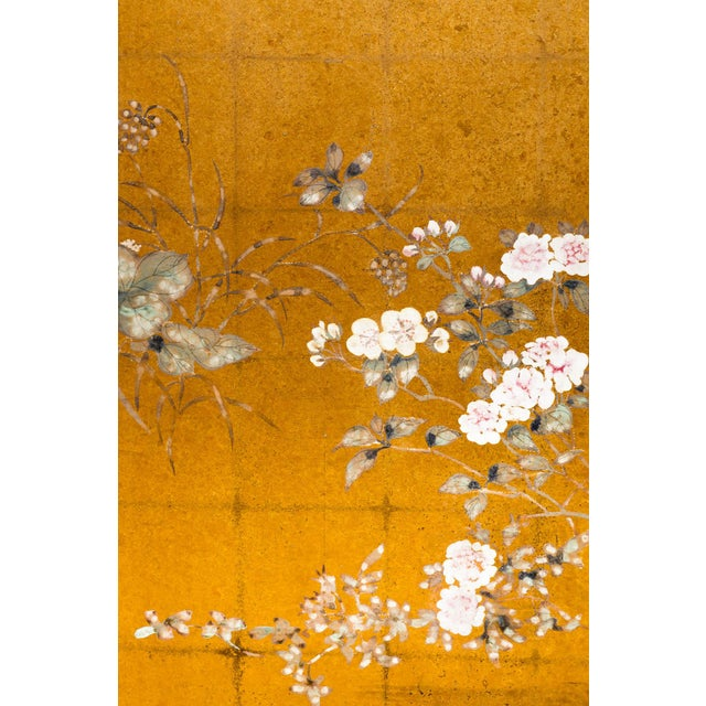 "Lawrence & Scott Lawrence & Scott Japanese Style ""Summer Garden"" Four-Panel Gold Foil Original Painting Hanging Screen For Sale - Image 4 of 9"