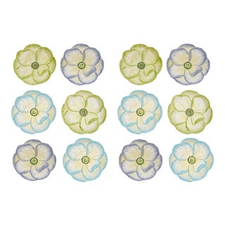 Moda Domus x Chairish Exclusive Dessert Plates in Blue, Purple, and Green- Set of 12 For Sale